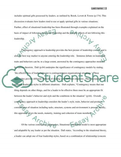 Leadership Theory essay example