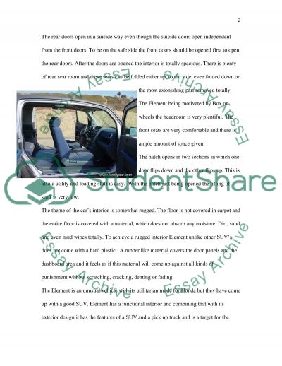 Managerial report on design of Honda Element essay example