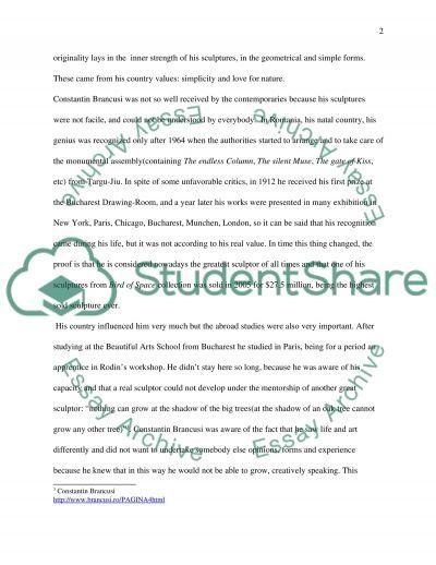 Constantin Brancusi essay example