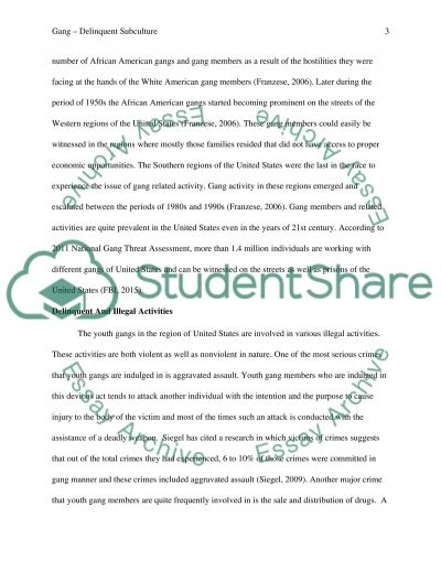 Delinquent youth subculture (Gangs) essay example