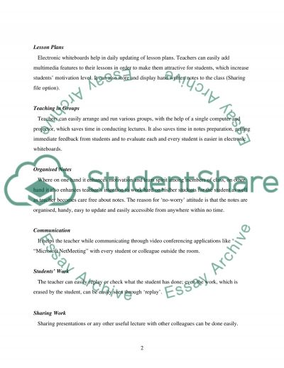 Benefits of using electronic whiteboards as a teaching aid essay example