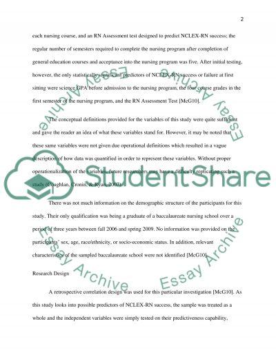 Quantitative Research Article Critique essay example