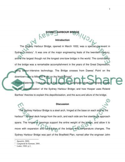 Seminar paper (Sydney Harbour Bridge) essay example