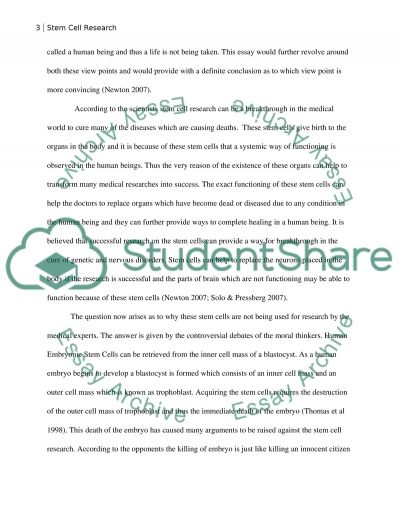Stem cell research paper Argumentative essay example