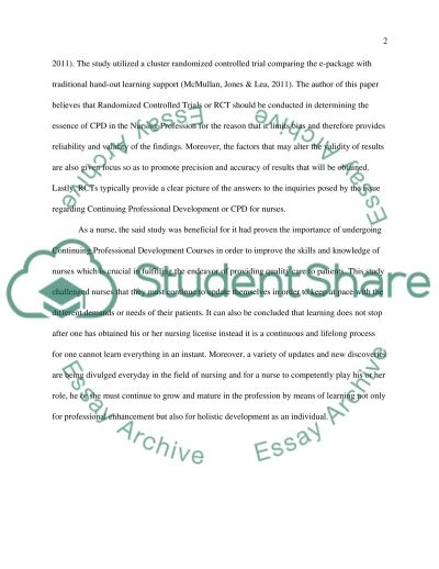 Continuos Professional Development for Nurses Essay example