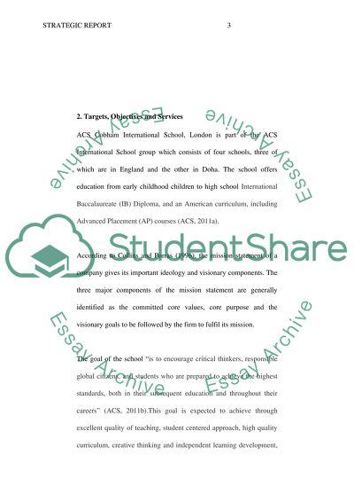 Analysis of ACS Cobham International Schools Organization and Its Strategic Plan