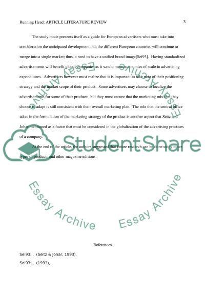 Article literature review