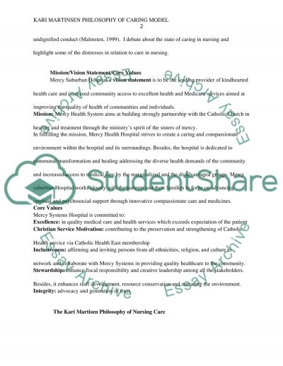 Kari Martinsen Philosophy of caring Model Essay example