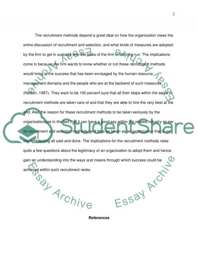 Recruitment methods essay example