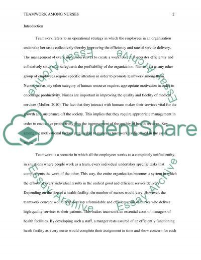 Strategies to increase teamwork among nurses essay example