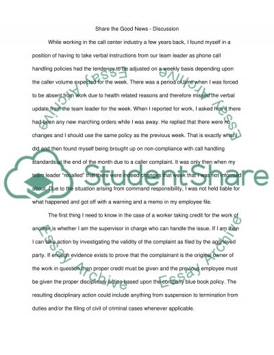 W 4: Share the Good News - Discussion essay example