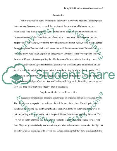 Drug rehabilitation verses incarceration essay example