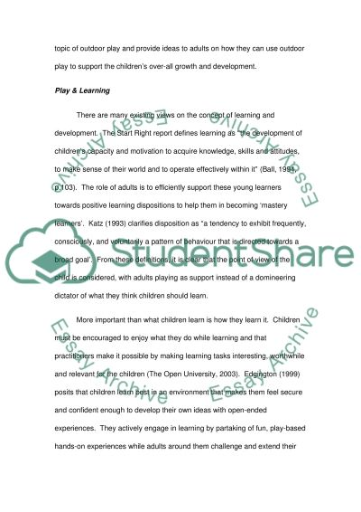 Exploring the Wonders of Outdoor Learning essay example