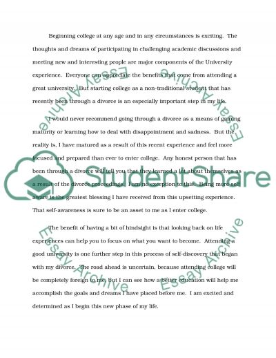Going back to College after Divorce essay example