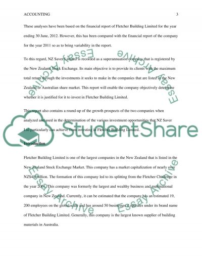 Fletcher Building Limited essay example
