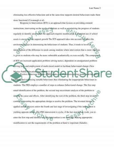 Positive Behavioural Intervention Supports essay example