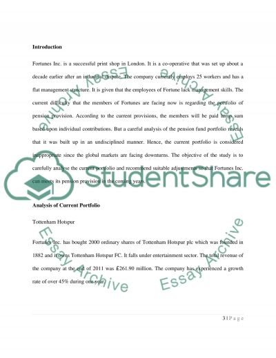 Investment and Fund Management Essay example