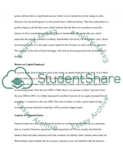Financial statment analysis essay example