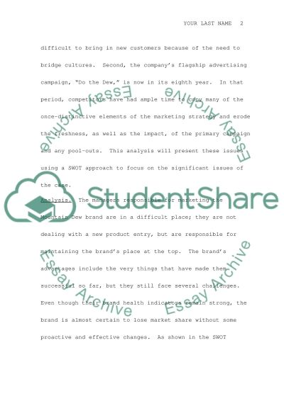 Mountain Dew Research Paper essay example