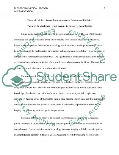 Electronic medical record implementation in correctional facilitites essay example