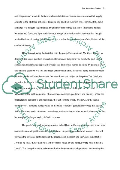 Songs of Innocence and Experience Essay Example | Topics and