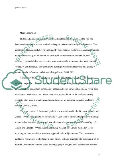 Qualitative Research Essay essay example
