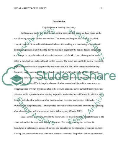 Legal Aspects of Nursing - Homework 5