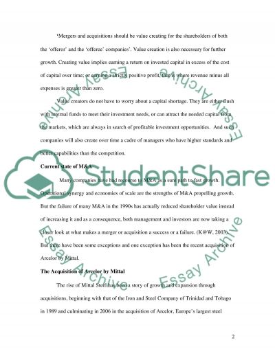 Corporate Finance-Mergers and acquisitions essay example