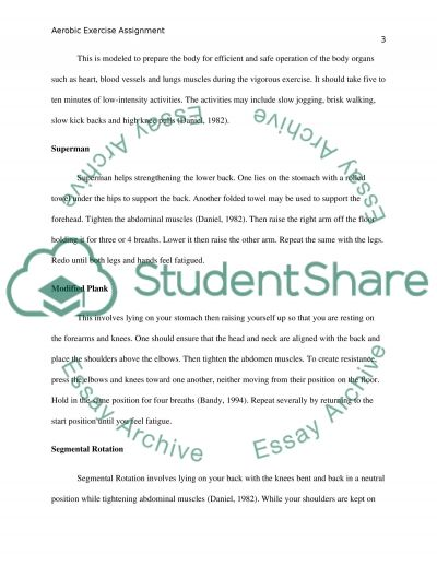 Aerobic exercise assignment essay example