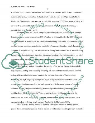 The May 6, 2010 Flash Crash essay example