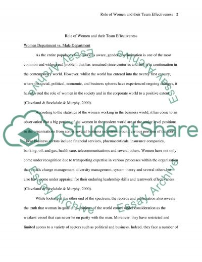 Impact of an all women department vs. an all male department in a company essay example