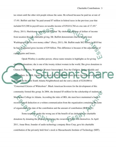 Charitable Contributions essay example