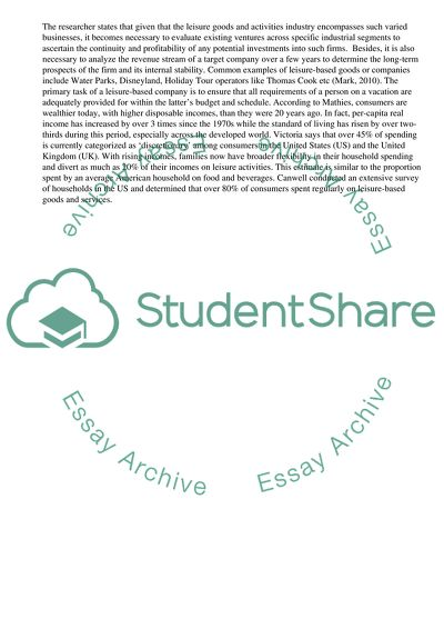 What Is The Thesis Statement In The Essay Business Opportunities In The Leisure Goods And Activities Industry Examples Of Good Essays In English also Compare And Contrast Essay On High School And College Business Opportunities In The Leisure Goods And Activities Industry  Science Technology Essay