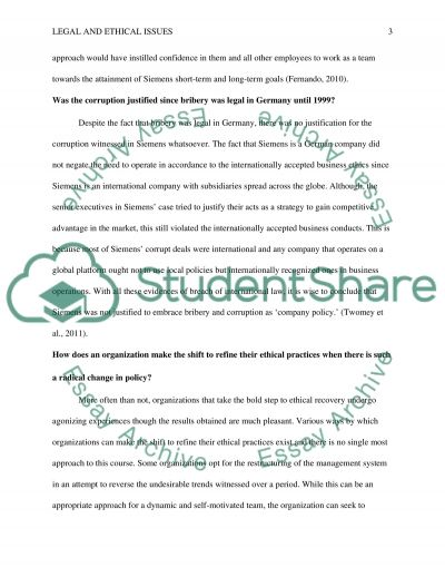 Legal and ethical issues in Siemens Global essay example