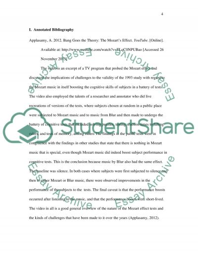 The Mozart Effect Annotated Bibliography essay example