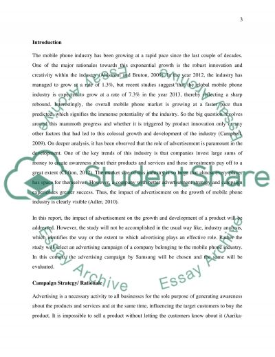 Evaluation of advertisement campaign Essay example