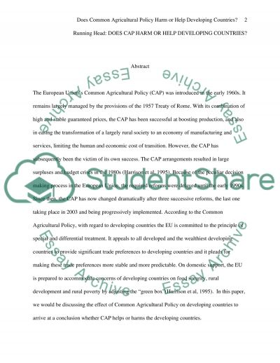 Common Agricultural Policy essay example