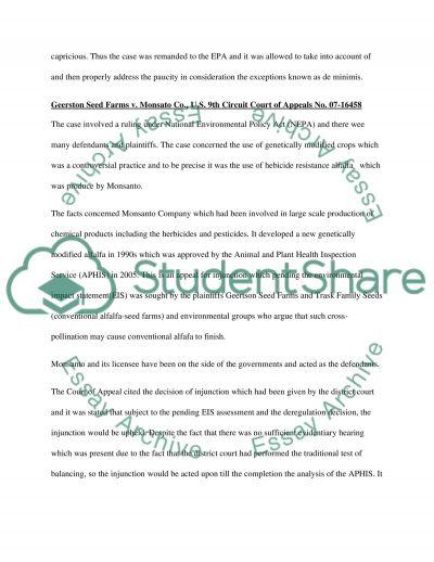 Environmental Law, Case Briefings essay example