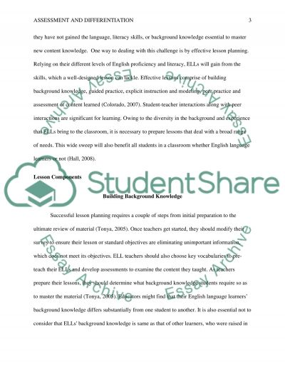 Assessment And Differentiation essay example