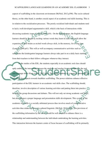Scaffolding Language Learning in an Academic ESL Classroom essay example