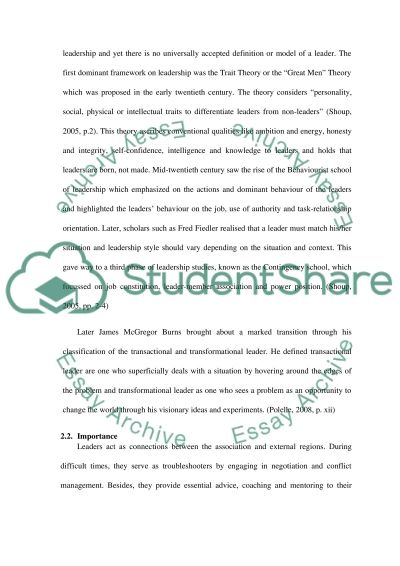 Organisational Culture And Leadership Essay Example  Topics And