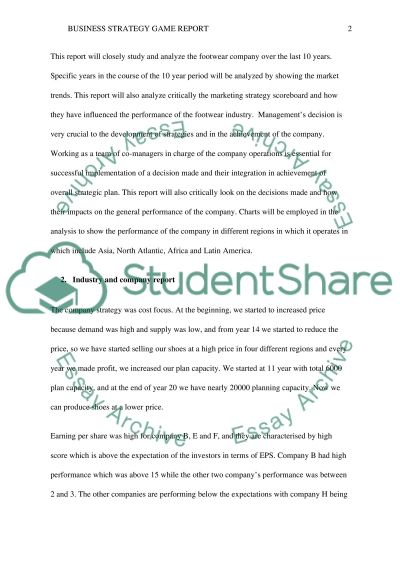 Awesome Business Strategy Game Report Essay Example
