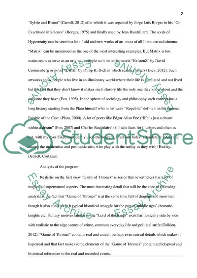 Hyperreality in The Game of Thrones Essay Example | Topics