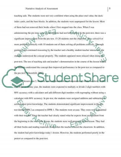 Narrative Analysis of Assessment essay example
