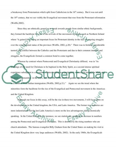 Evangelical and Pentecostal Christianity essay example