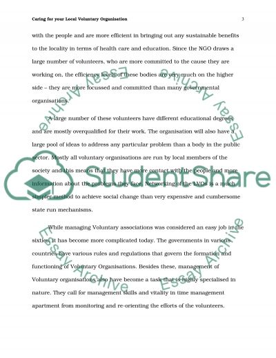 Caring for your Local Voluntary Organisation Essay example