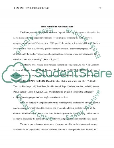 Press Release essay example