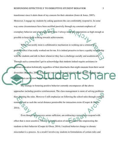 Comprehensive Classroom Management Plan: Responding Effectively to Disruptive Behavior essay example