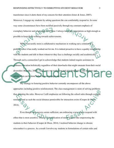 Comprehensive Classroom Management Plan: Responding Effectively to Disruptive Behavior