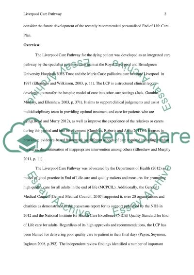 Ethical principles in end of life care - The liverpool care pathway essay example
